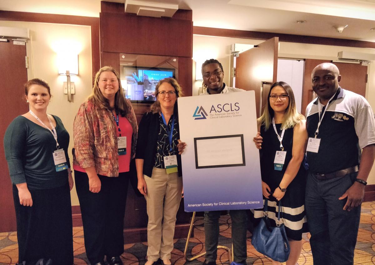 (from left to right) NCSCLS Directors Kelsey Reschly and April Anderson, Treasurer Lisa Cremeans, Developing Professional Co-chair Peter Davis, President Sophia Chen, and President-Elect William Anong